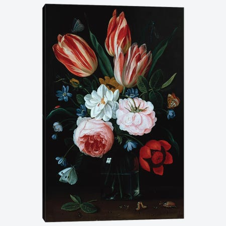 Flowers in a vase  Canvas Print #BMN5353} by Osias the Elder Beert Canvas Print