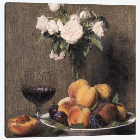 Still life with roses, fruit and a glass of wine, 1872  Canvas Print #BMN5354} by Ignace Henri Jean Theodore Fantin-Latour Canvas Artwork