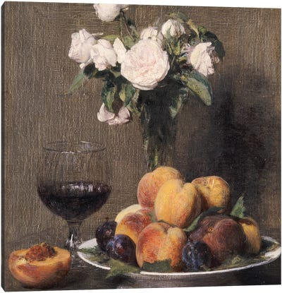 Still life with roses, fruit and a glass of wine, 1872  Canvas Art Print