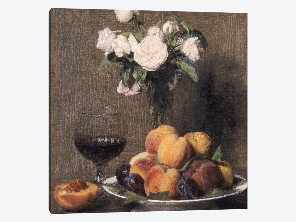 Still life with roses, fruit and a glass of wine, 1872  by Ignace Henri Jean Theodore Fantin-Latour 1-piece Canvas Art