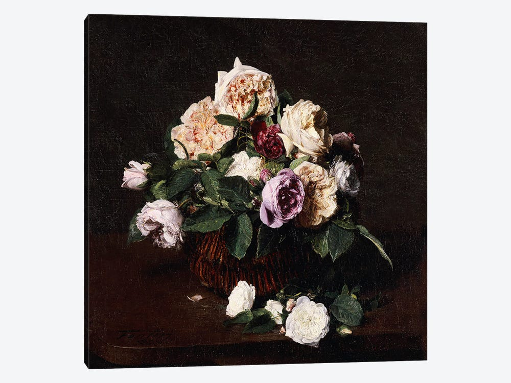 Vase of Flowers, 1876  by Ignace Henri Jean Theodore Fantin-Latour 1-piece Canvas Wall Art