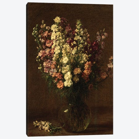 Larkspur, 1887  Canvas Print #BMN5357} by Ignace Henri Jean Theodore Fantin-Latour Canvas Art
