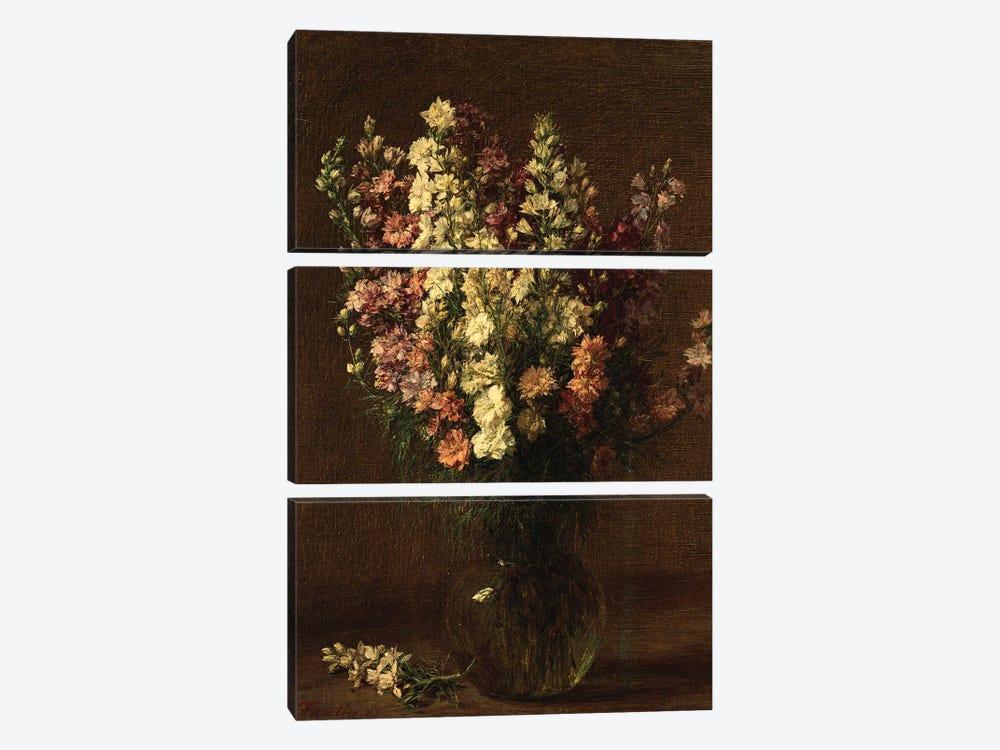 Larkspur, 1887  by Ignace Henri Jean Theodore Fantin-Latour 3-piece Canvas Print