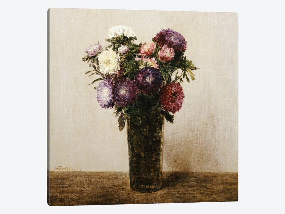 Vase of Flowers, 1872  by Ignace Henri Jean Theodore Fantin-Latour 1-piece Canvas Artwork