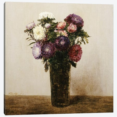 Vase of Flowers, 1872  Canvas Print #BMN5358} by Ignace Henri Jean Theodore Fantin-Latour Art Print