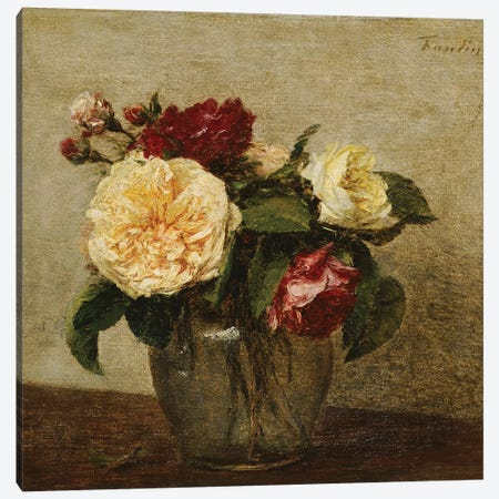 Red and Yellow Roses, 1879  Canvas Print #BMN5359} by Ignace Henri Jean Theodore Fantin-Latour Art Print
