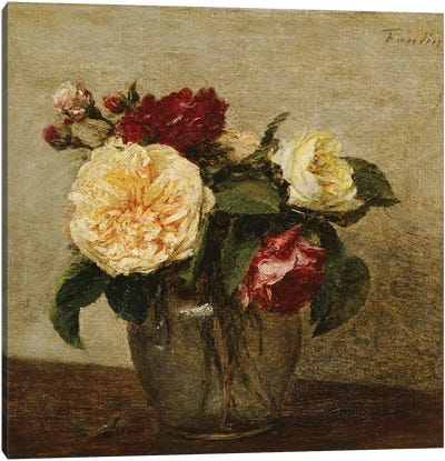 Red and Yellow Roses, 1879  Canvas Art Print