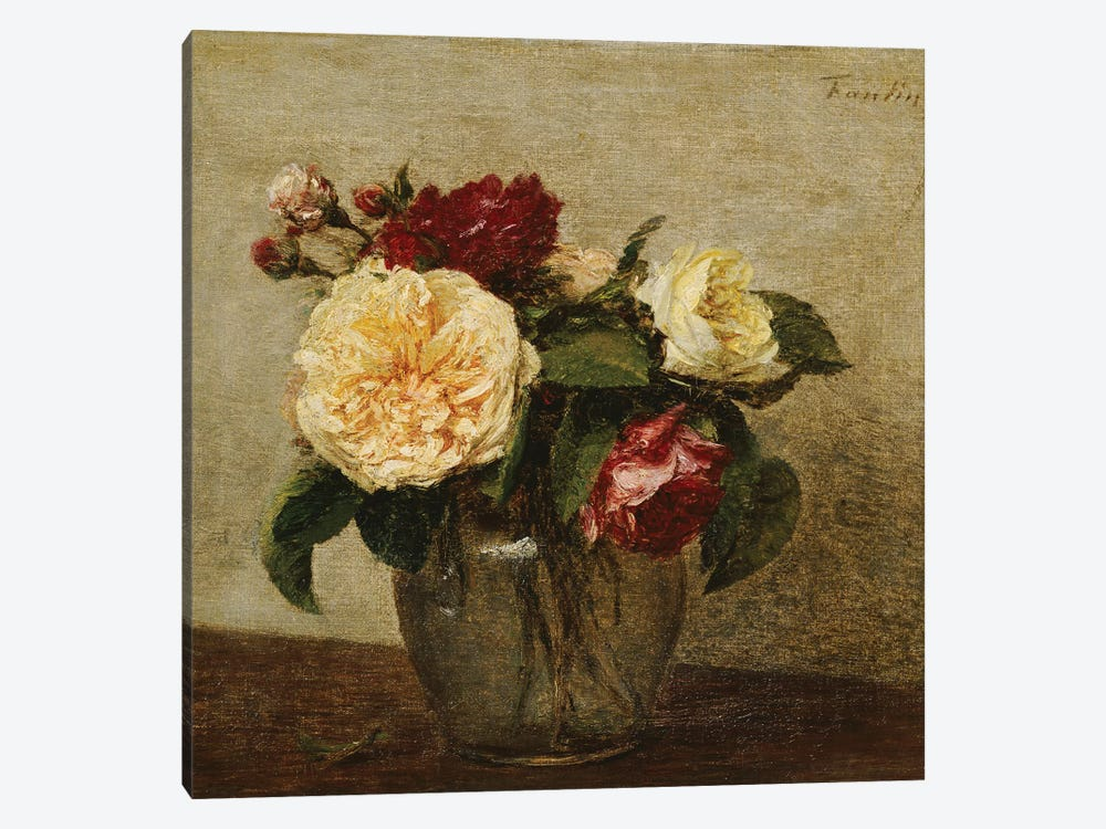 Red and Yellow Roses, 1879  by Ignace Henri Jean Theodore Fantin-Latour 1-piece Canvas Art Print