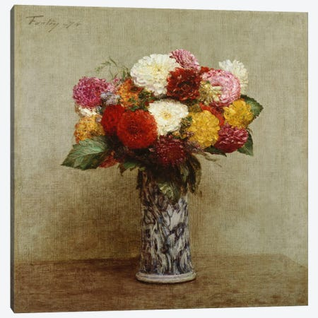 Dahlias in a Chinese Vase, 1874  Canvas Print #BMN5360} by Ignace Henri Jean Theodore Fantin-Latour Canvas Art