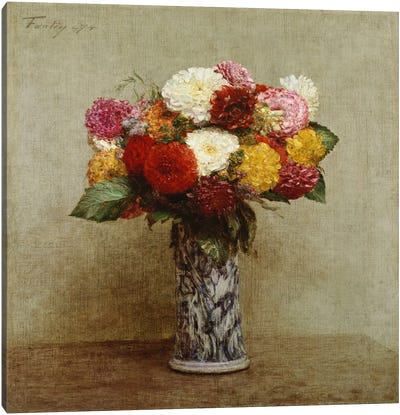 Dahlias in a Chinese Vase, 1874  Canvas Art Print
