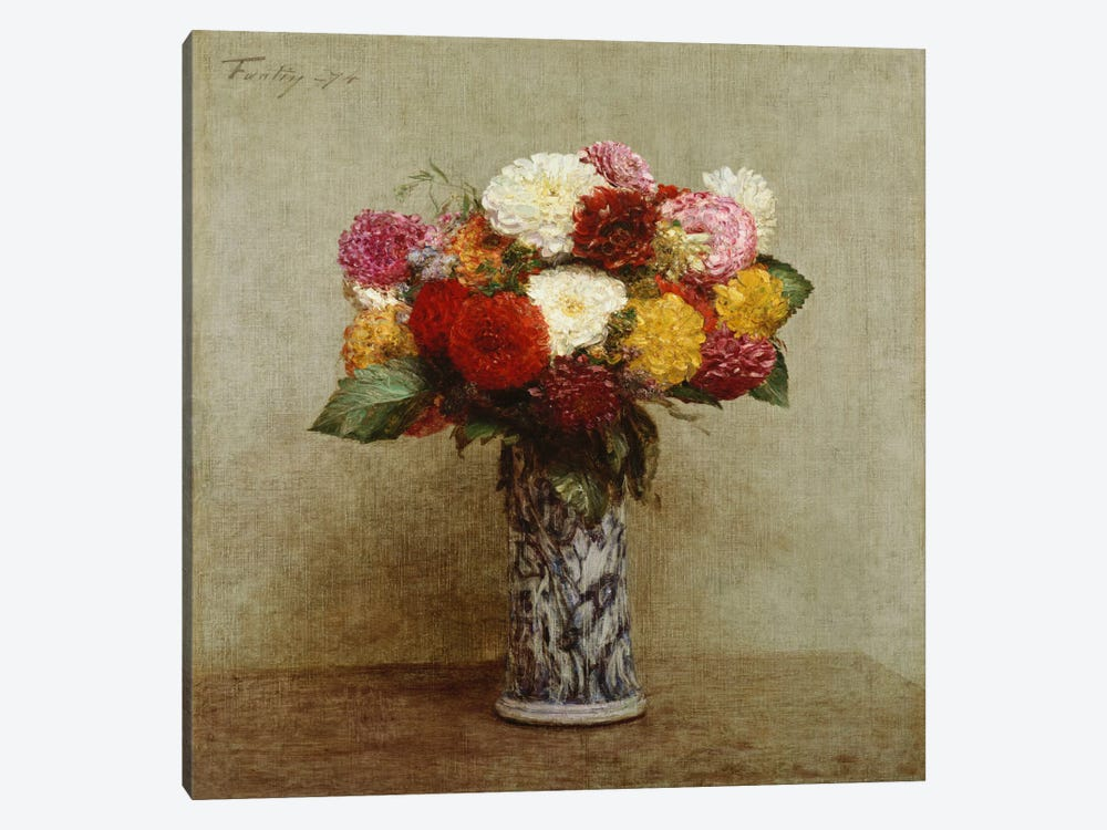 Dahlias in a Chinese Vase, 1874 by Ignace Henri Jean Theodore Fantin-Latour 1-piece Canvas Art Print