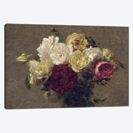 Bouquet of Roses, 1879  Canvas Print #BMN5361} by Ignace Henri Jean Theodore Fantin-Latour Canvas Wall Art