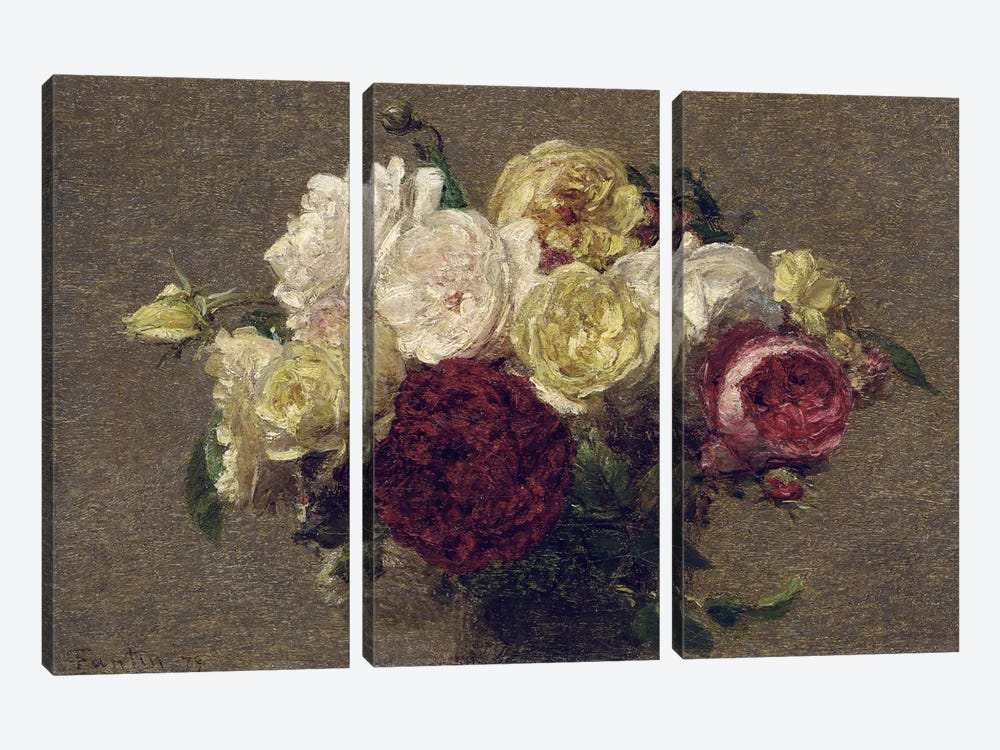 Bouquet of Roses, 1879  by Ignace Henri Jean Theodore Fantin-Latour 3-piece Canvas Wall Art