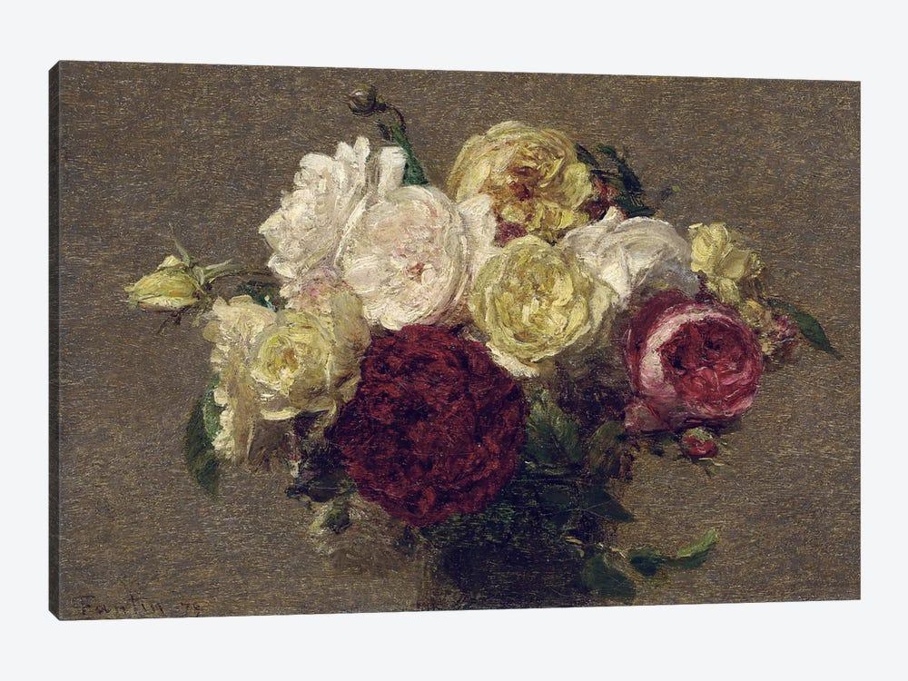 Bouquet of Roses, 1879  by Ignace Henri Jean Theodore Fantin-Latour 1-piece Canvas Art
