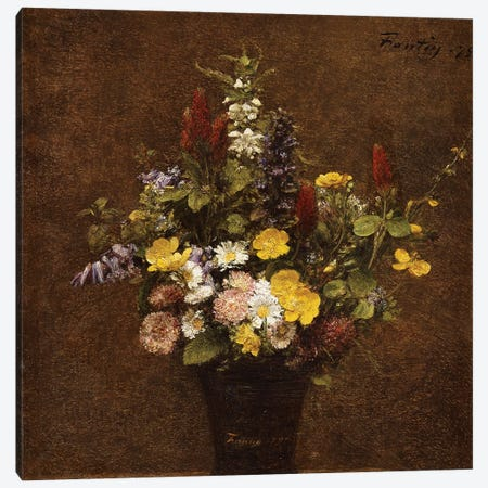 Wild Flowers  Canvas Print #BMN5363} by Ignace Henri Jean Theodore Fantin-Latour Canvas Wall Art