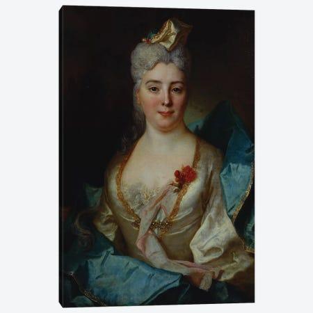 Portrait of a lady, wearing a white dress and a blue cloak  Canvas Print #BMN5364} by Nicolas de Largillière Canvas Print