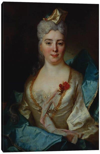 Portrait of a lady, wearing a white dress and a blue cloak  Canvas Art Print
