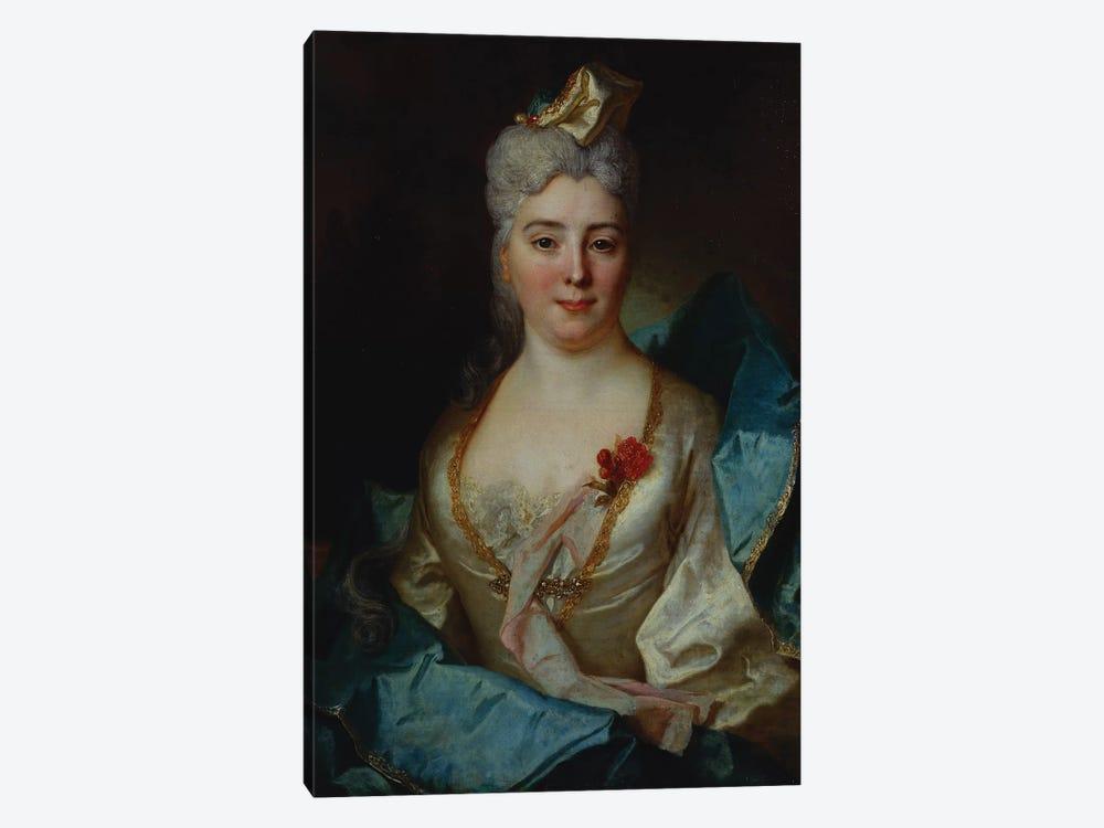 Portrait of a lady, wearing a white dress and a blue cloak  by Nicolas de Largillière 1-piece Canvas Art Print