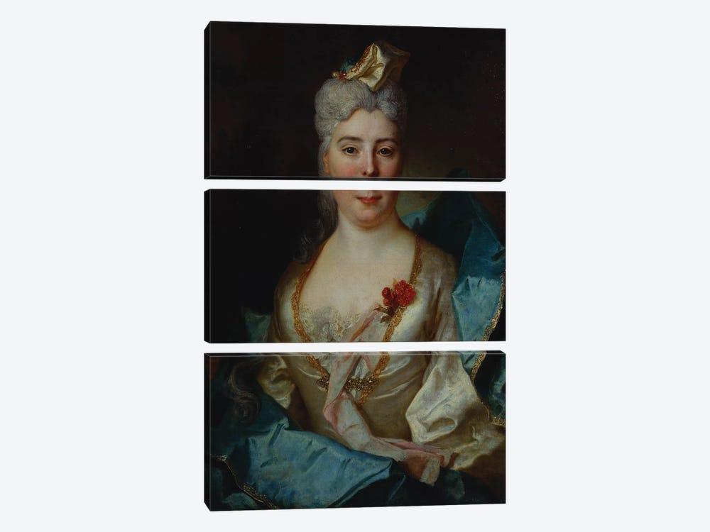 Portrait of a lady, wearing a white dress and a blue cloak  by Nicolas de Largillière 3-piece Art Print