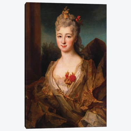Portrait of a lady, half length, in a white and gold embroidered dress, with flowers in her hair  Canvas Print #BMN5366} by Nicolas de Largillière Canvas Art Print
