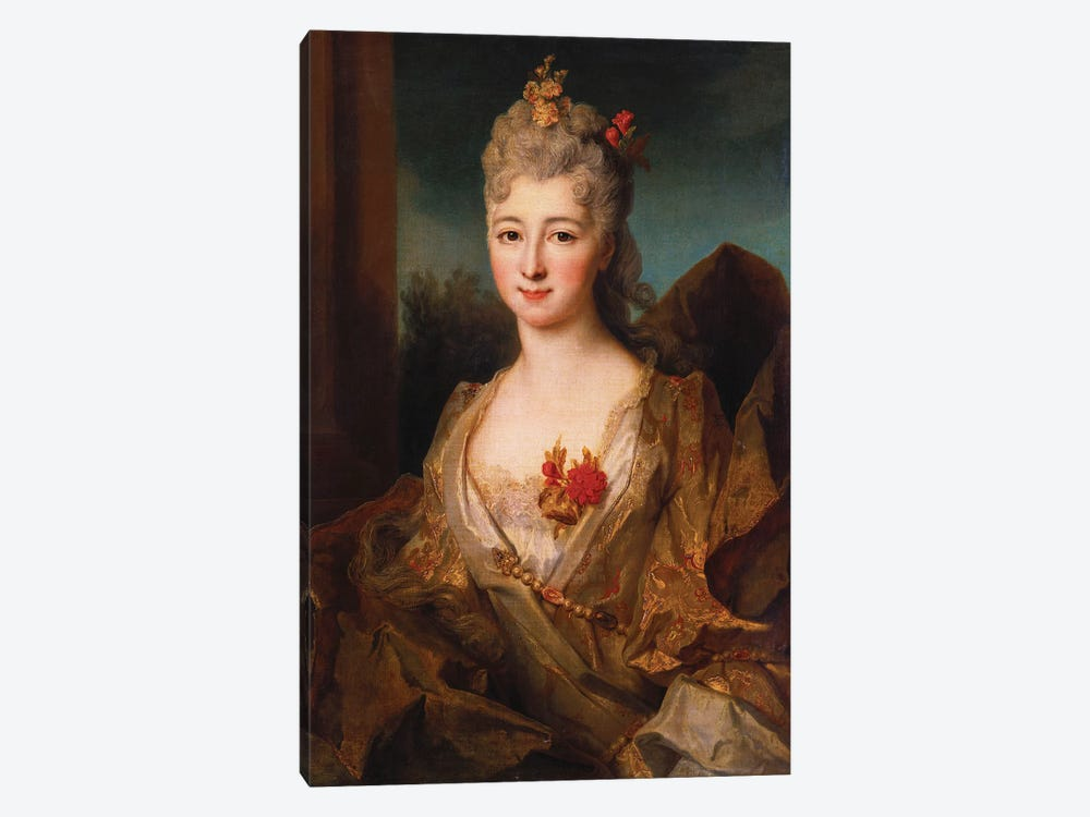 Portrait of a lady, half length, in a white and gold embroidered dress, with flowers in her hair  by Nicolas de Largillière 1-piece Canvas Print