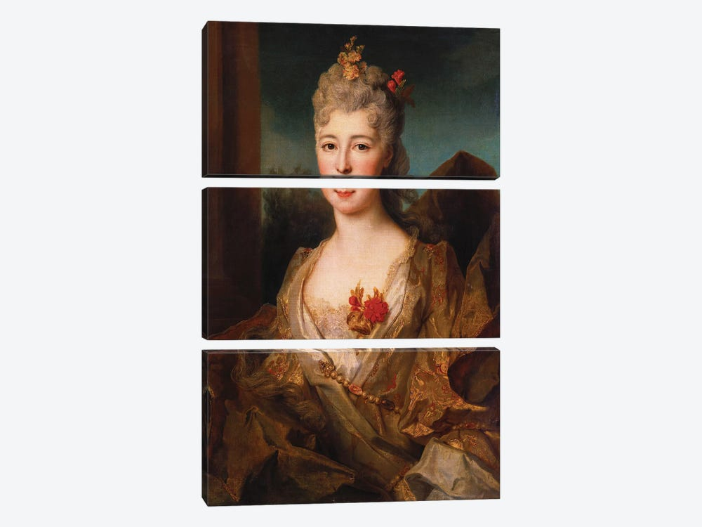 Portrait of a lady, half length, in a white and gold embroidered dress, with flowers in her hair  by Nicolas de Largillière 3-piece Canvas Art Print