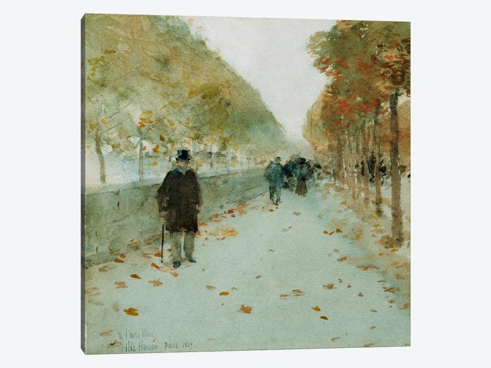 Quai du Louvre, 1889 by Childe Hassam 1-piece Canvas Wall Art