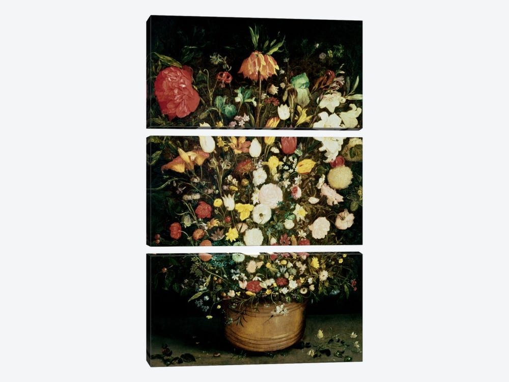 Vase of Flowers by Jan Brueghel the Elder 3-piece Canvas Art Print
