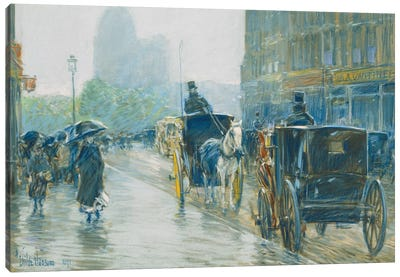 Horse Drawn Cabs, New York, 1891  Canvas Art Print