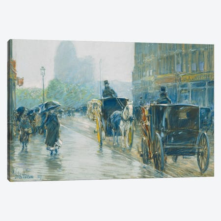 Horse Drawn Cabs, New York, 1891  Canvas Print #BMN5381} by Childe Hassam Canvas Wall Art