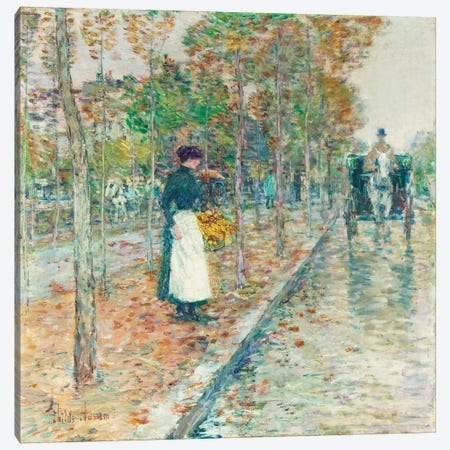 Autumn Boulevard, Paris  Canvas Print #BMN5382} by Childe Hassam Canvas Artwork