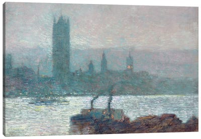 Houses of Parliament, Early Evening, 1898  Canvas Art Print