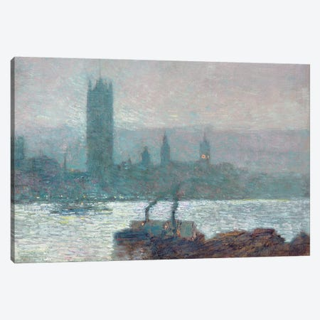 Houses of Parliament, Early Evening, 1898  Canvas Print #BMN5383} by Childe Hassam Canvas Artwork