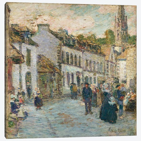 Street in Pont Aven - Evening, 1897  Canvas Print #BMN5384} by Childe Hassam Canvas Print