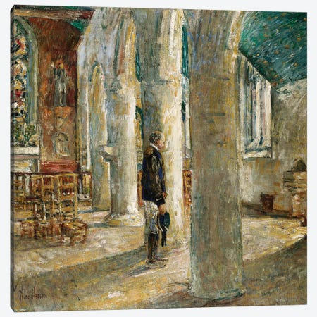 Church Interior, Brittany, 1897  Canvas Print #BMN5391} by Childe Hassam Canvas Print