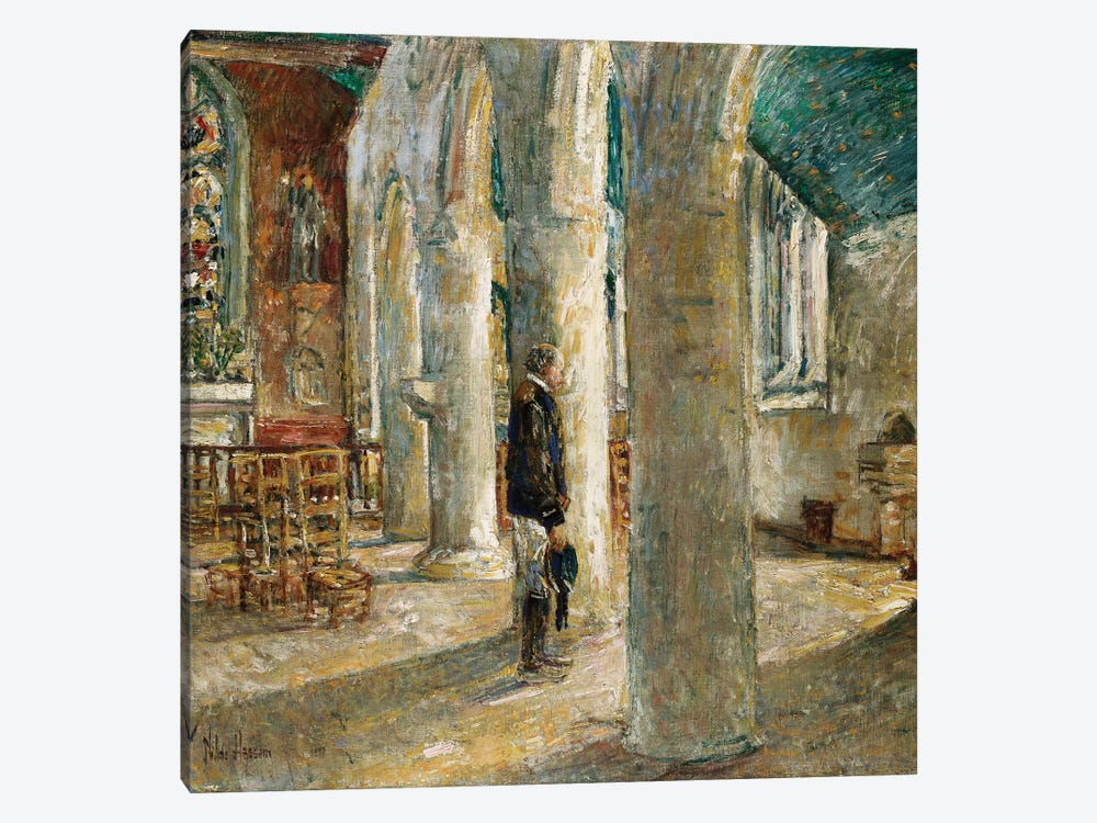 Church Interior, Brittany, 1897  by Childe Hassam 1-piece Canvas Print
