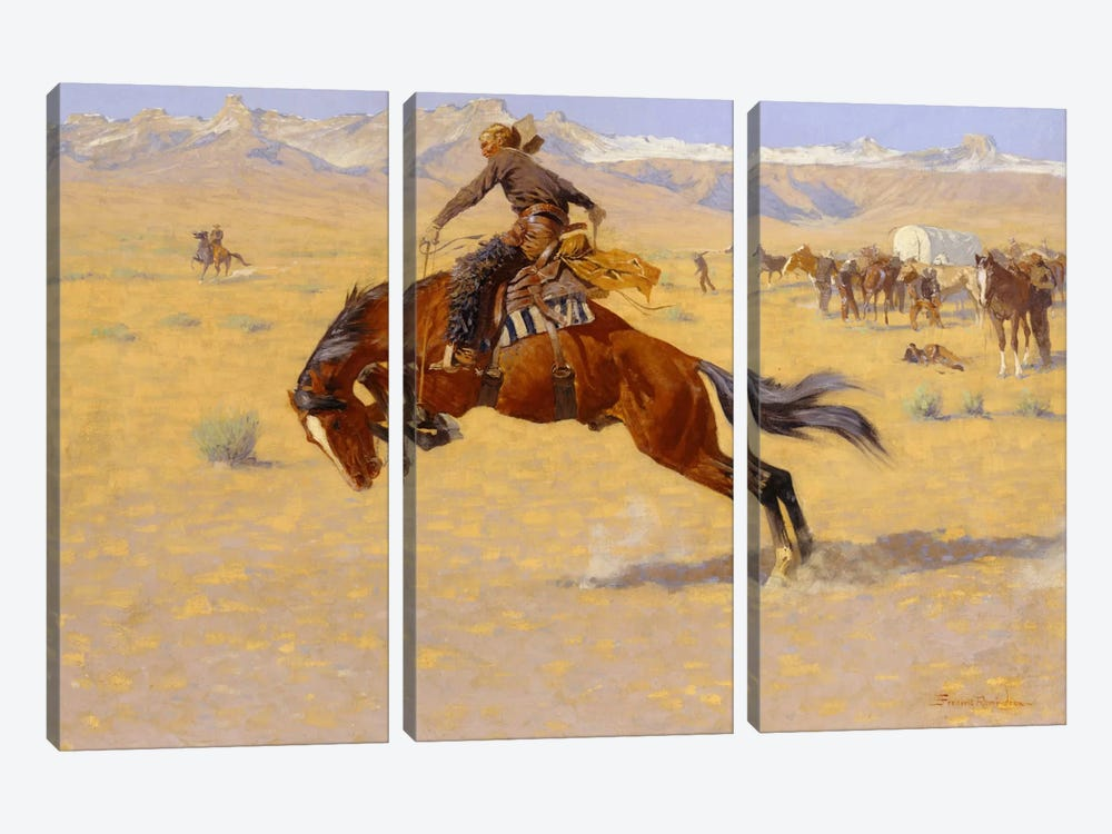 A Cold Morning on the Range, c.1904  by Frederic Remington 3-piece Canvas Print