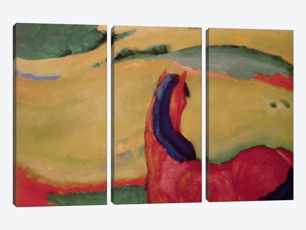 Horse in a landscape, 1910  by Franz Marc 3-piece Canvas Print