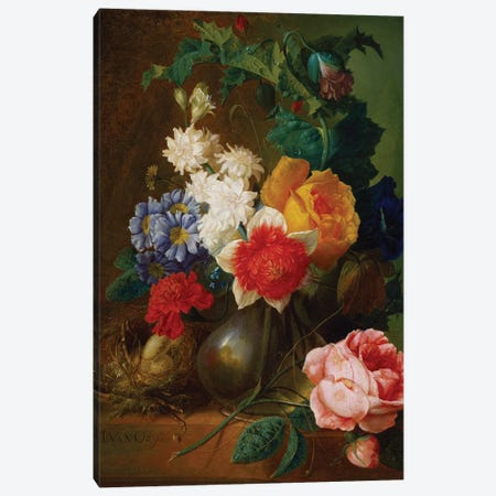 Roses, poppies, morning glory and other flowers in a vase with a bird's nest on a ledge  Canvas Print #BMN5400} by Jan van Os Canvas Art Print