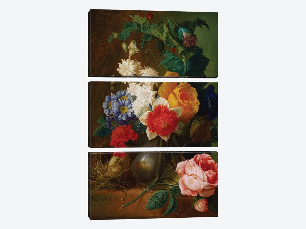 Roses, poppies, morning glory and other flowers in a vase with a bird's nest on a ledge  by Jan van Os 3-piece Canvas Wall Art