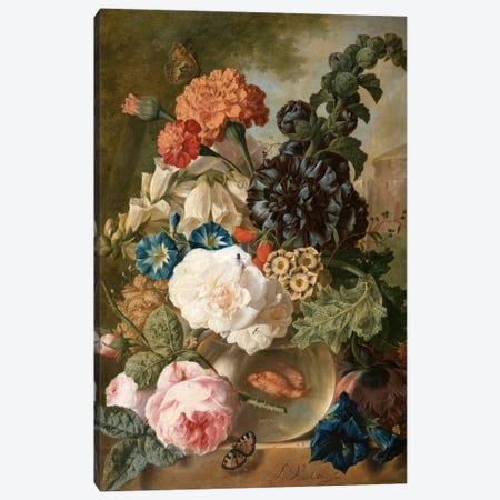 Roses, chrysanthemums, peonies and other flowers in a glass vase with goldfish on a stone ledge  Canvas Print #BMN5401} by Jan van Os Art Print