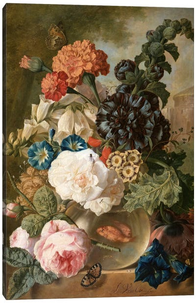 Roses, chrysanthemums, peonies and other flowers in a glass vase with goldfish on a stone ledge  Canvas Art Print