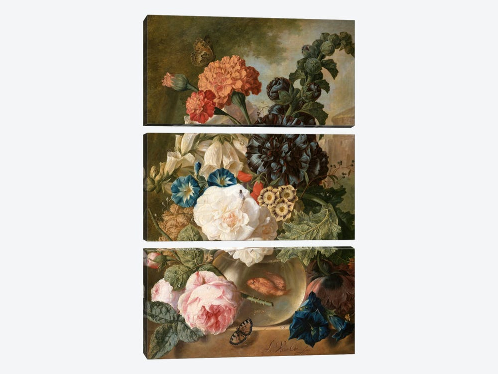Roses, chrysanthemums, peonies and other flowers in a glass vase with goldfish on a stone ledge  by Jan van Os 3-piece Canvas Print