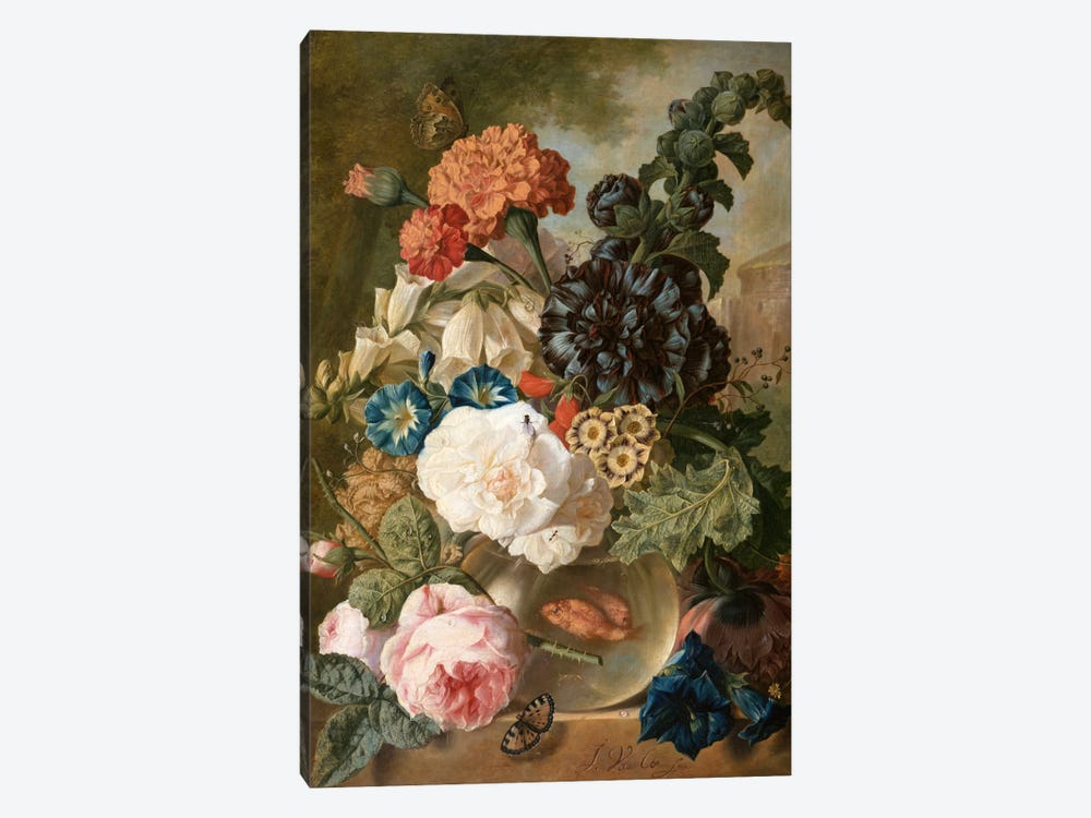 Roses, chrysanthemums, peonies and other flowers in a glass vase with goldfish on a stone ledge  by Jan van Os 1-piece Canvas Print