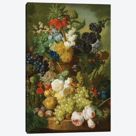 Still life of flowers and fruit  Canvas Print #BMN5402} by Jan van Os Art Print