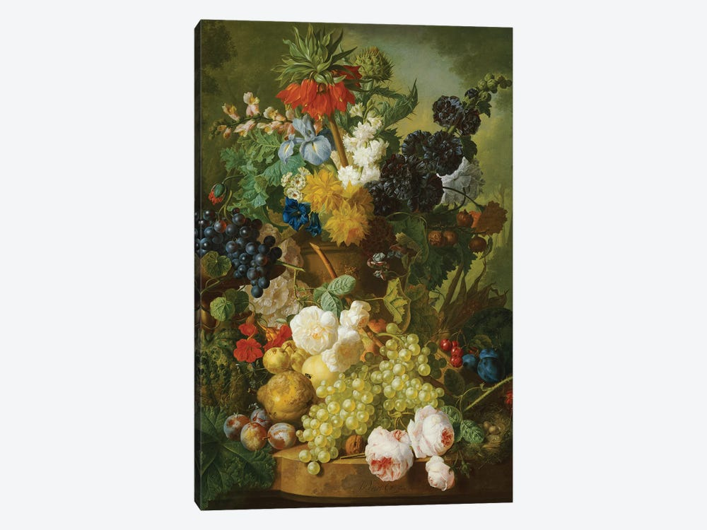 Still life of flowers and fruit  by Jan van Os 1-piece Canvas Artwork