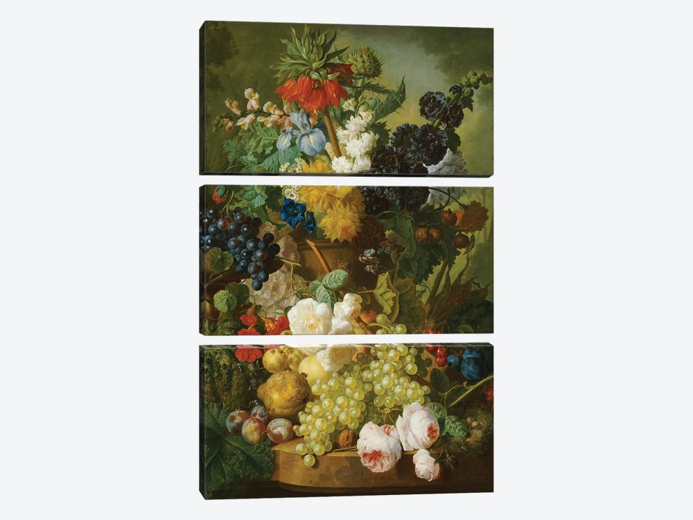 Still life of flowers and fruit  by Jan van Os 3-piece Canvas Wall Art