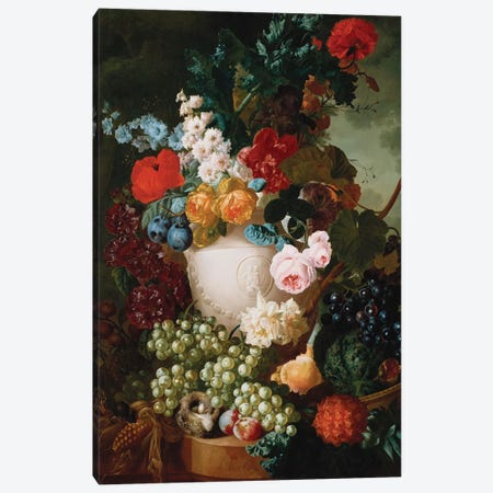 Roses, poppies and other flowers in a sculpted vase with fruit, a mouse and a bird's nest on a stone ledge  Canvas Print #BMN5403} by Jan van Os Canvas Art Print