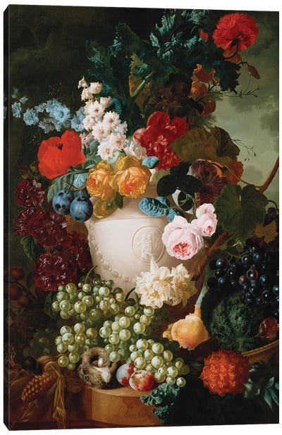 Roses, poppies and other flowers in a sculpted vase with fruit, a mouse and a bird's nest on a stone ledge  Canvas Art Print