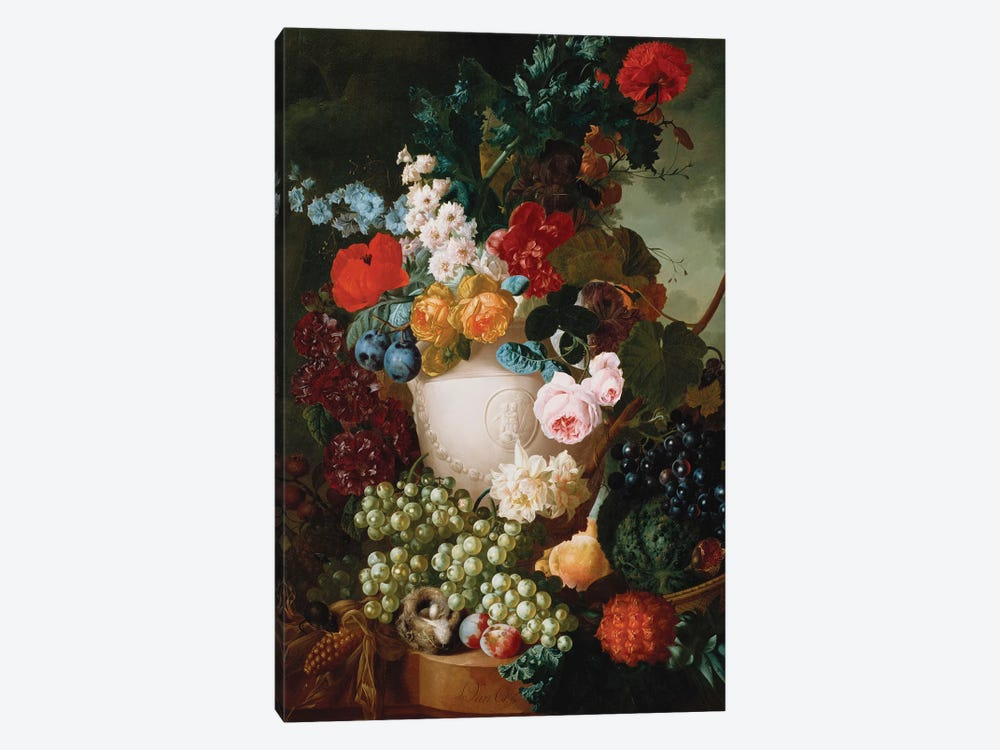 Roses, poppies and other flowers in a sculpted vase with fruit, a mouse and a bird's nest on a stone ledge  by Jan van Os 1-piece Canvas Art Print
